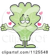 Cartoon Of A Loving Lettuce Mascot With Open Arms Royalty Free Vector Clipart