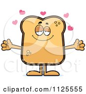 Cartoon Of A Loving Toast Mascot With Open Arms Royalty Free Vector Clipart