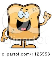 Cartoon Of A Toast Mascot With An Idea Royalty Free Vector Clipart by Cory Thoman
