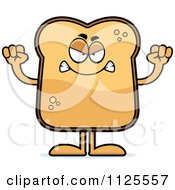 Cartoon Of An Angry Toast Mascot Royalty Free Vector Clipart