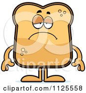 Cartoon Of A Depressed Toast Mascot Royalty Free Vector Clipart