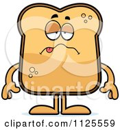 Cartoon Of A Sick Toast Mascot Royalty Free Vector Clipart