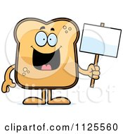 Cartoon Of A Toast Mascot Holding A Sign Royalty Free Vector Clipart