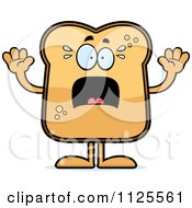 Cartoon Of A Scared Toast Mascot Royalty Free Vector Clipart
