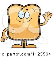 Cartoon Of A Waving Toast Mascot Royalty Free Vector Clipart