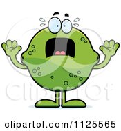 Cartoon Of A Scared Lime Mascot Royalty Free Vector Clipart