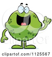 Cartoon Of A Lime Mascot With An Idea Royalty Free Vector Clipart
