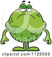 Cartoon Of A Depressed Lime Mascot Royalty Free Vector Clipart