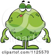 Cartoon Of A Sick Lime Mascot Royalty Free Vector Clipart