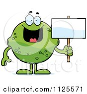 Cartoon Of A Lime Mascot Holding A Sign Royalty Free Vector Clipart
