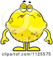 Cartoon Of A Sick Lemon Mascot Royalty Free Vector Clipart