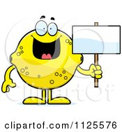 Cartoon Of A Lemon Mascot Holding A Sign Royalty Free Vector Clipart