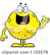 Cartoon Of A Lemon Mascot With An Idea Royalty Free Vector Clipart