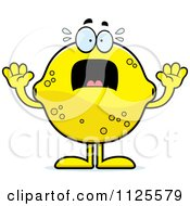 Cartoon Of A Scared Lemon Mascot Royalty Free Vector Clipart