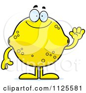 Cartoon Of A Waving Lemon Mascot Royalty Free Vector Clipart
