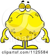 Cartoon Of A Depressed Lemon Mascot Royalty Free Vector Clipart