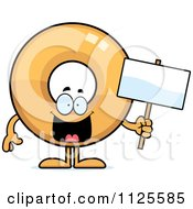 Cartoon Of A Donut Mascot Holding A Sign Royalty Free Vector Clipart by Cory Thoman