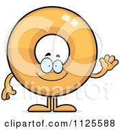 Cartoon Of A Waving Donut Mascot Royalty Free Vector Clipart