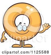 Cartoon Of A Waving Donut Mascot Royalty Free Vector Clipart by Cory Thoman