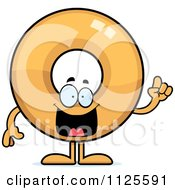 Cartoon Of A Donut Mascot With An Idea Royalty Free Vector Clipart by Cory Thoman
