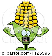 Cartoon Of A Scared Corn Mascot Royalty Free Vector Clipart