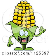 Cartoon Of A Corn Mascot With An Idea Royalty Free Vector Clipart by Cory Thoman