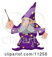 Old Male Warlock Wizard Magician In A Purple Cloak With Star Patterns Holding A Magic Wand