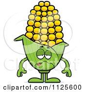 Cartoon Of A Sick Corn Mascot Royalty Free Vector Clipart