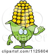 Cartoon Of A Waving Corn Mascot Royalty Free Vector Clipart