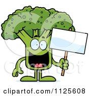 Broccoli Mascot Holding A Sign
