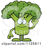 Cartoon Of A Waving Broccoli Mascot Royalty Free Vector Clipart