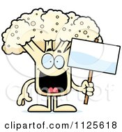 Cartoon Of A Cauliflower Mascot Holding A Sign Royalty Free Vector Clipart