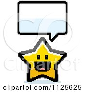 Cartoon Of A Happy 8bit Pixelated Talking Star Royalty Free Vector Clipart