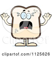 Cartoon Of A Scared Bread Character Royalty Free Vector Clipart