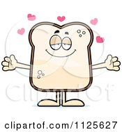 Cartoon Of A Sweet Bread Character Wanting A Hug Royalty Free Vector Clipart by Cory Thoman