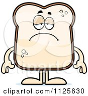 Cartoon Of A Depressed Bread Character Royalty Free Vector Clipart