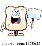 Cartoon Of A Bread Character Holding A Sign Royalty Free Vector Clipart