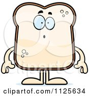 Cartoon Of A Surprised Bread Character Royalty Free Vector Clipart