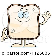 Cartoon Of A Friendly Bread Character Waving Royalty Free Vector Clipart
