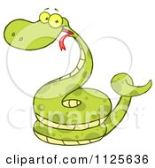 Happy Coiled Green Snake