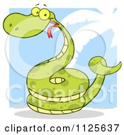 Cartoon Of A Happy Coiled Green Snake On A Blue And White Palm Tree Background Royalty Free Vector Clipart by Hit Toon
