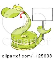 Cartoon Of A Happy Coiled Green Snake Holding A Sign Royalty Free Vector Clipart by Hit Toon