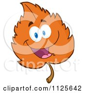 Cartoon Of A Happy Orange Autumn Leaf Character Royalty Free Vector Clipart