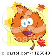 Cartoon Of A Happy Orange Autumn Leaf Character Over Yellow Royalty Free Vector Clipart