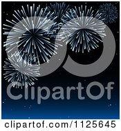 Clipart Of A Night Sky With Holiday Fireworks Royalty Free Vector Illustration