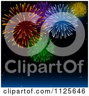 Clipart Of A Night Sky With Colorful Holiday Fireworks Royalty Free Vector Illustration