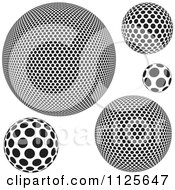 Clipart Of Black And White Dotted Spheres Royalty Free Vector Illustration