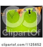 Clipart Of Green Halloween Torn Paper Copyspace On Black Wood With Bunting Flags Royalty Free Vector Illustration