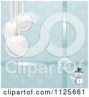 Clipart Of A Blue Christmas Background With A Snowman Bauble Snowflakes And Ribbons Royalty Free Vector Illustration by elaineitalia