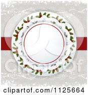 Clipart Of A Christmas Circle Of Holly Over Snowflakes Royalty Free Vector Illustration by elaineitalia